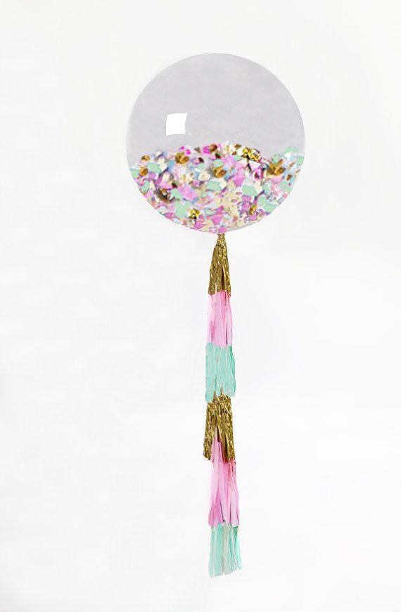 "Confetti Balloon | Giant Balloon with Tassel and Confetti Custom Colors | 36"" Confetti Balloon with Tassels"