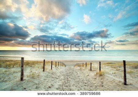sand way to the North sea beach and beautiful sky, Holland