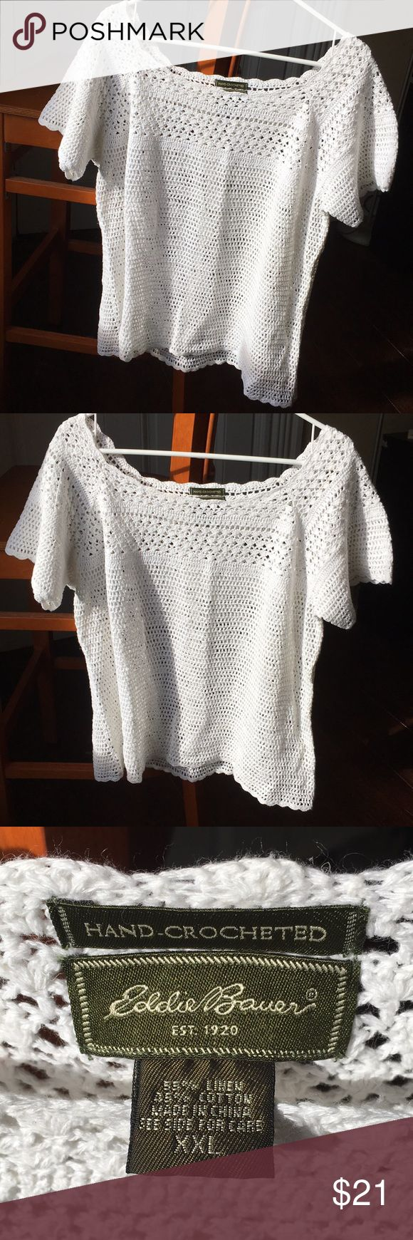 Hand-crocheted Eddie Bauer tee Hand-crocheted women's tee-shirt style blouse. Bright white, no stains or tint from washing. 55% linen 45%cotton yarn. Beautiful EUC. Any questions, please ask :) Eddie Bauer Tops Tees - Short Sleeve