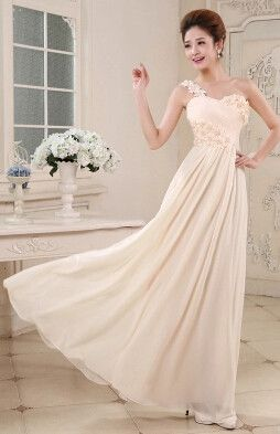 In Stock Chiffon A-Line Bridesmaid Dress Cheap Pleat Flower Floor-Length Prom Dresses Vestido De Casamento Dama De Honra