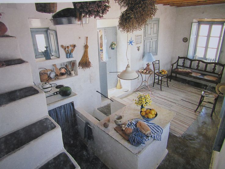 Greek Home 01 Kitchen And Living Greek Island Decor Pinterest Greece House And Kitchen