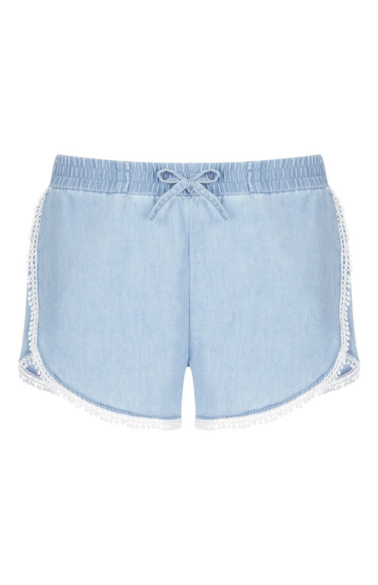 Primark - Blue Crochet Hem Shorts