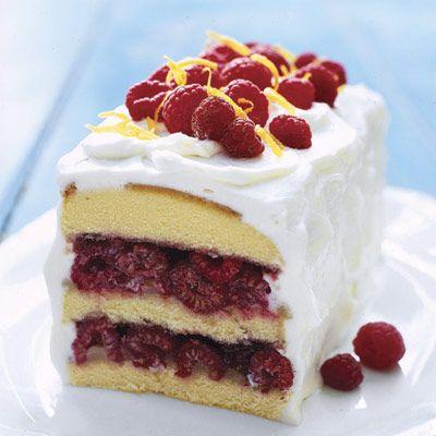 Raspberry Lemon Cream Cake - Good HousekeepingDesserts Recipe, Cake Recipe, Cream Cake, Lemon Cake, Berries Desserts, Raspberries Lemon Cream, Raspberry Lemon Cream, Pound Cake, Raspberrylemon Cream