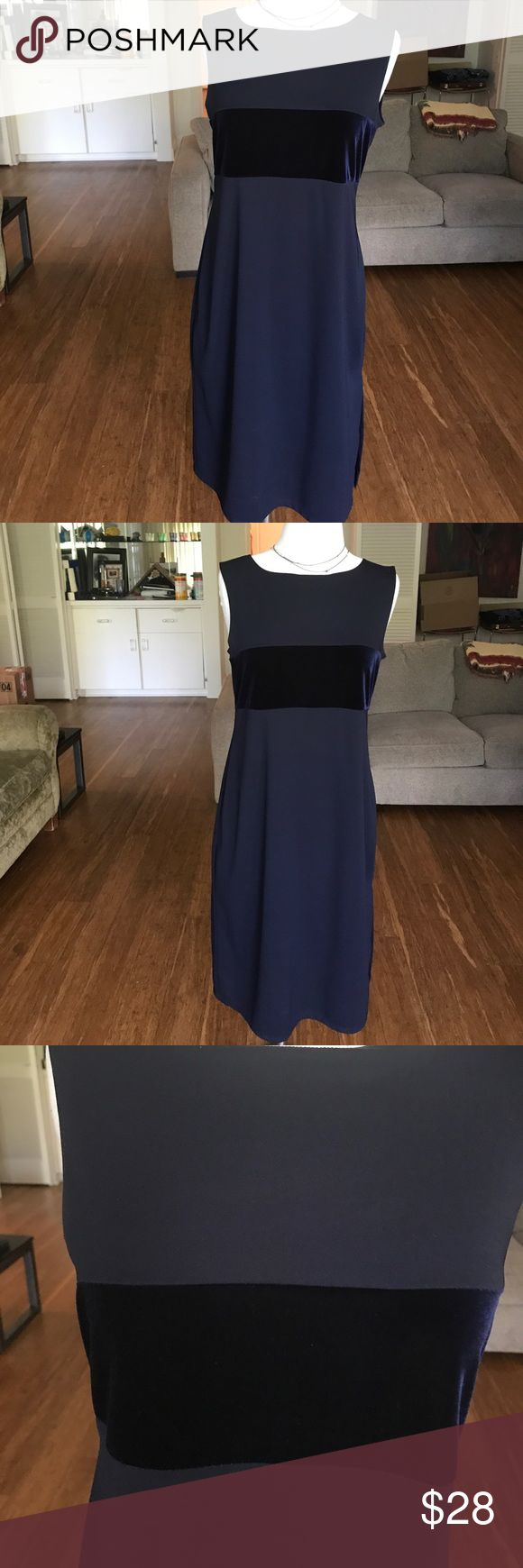 ABSOLUTELY STUNNING NAVY VELVET AND CREPEY DRESS MUST SELL EVERYTHING SALE - MOVING IN 4 WEEKS SALE This extremely beautiful simple shift dress with a velvet strip across the bodice is in excellent used condition. It was worn to one event. It's that kind of dress you can put and when you want something simple and yet you want to look beautiful. There's a subtle side slit that adds to the beauty of the dress. This is a max studio peace Max Studio Dresses Midi