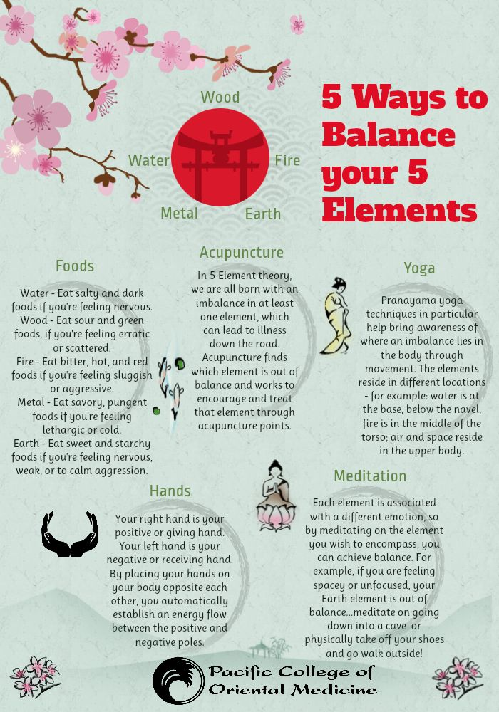 5 Ways to Balance the 5 Elements #TCM Traditional #Chinese #Medicine #Yoga #Meditation #Foods #Acupuncture #Hands