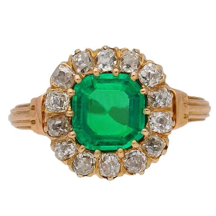 Antique Victorian Colombian emerald diamond coronet cluster ring | From a unique collection of vintage engagement rings at https://www.1stdibs.com/jewelry/rings/engagement-rings/