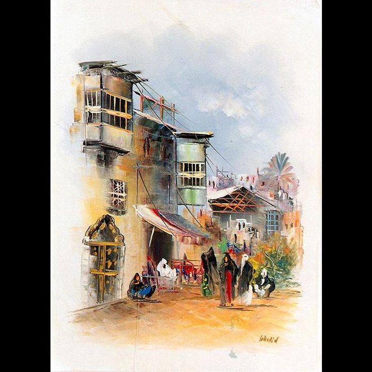 Artwork by the artist Khalid Azzawi size 50x35 cm.