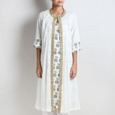White Cotton Shahi Double Layered Kurta With Natural Dye Hand Block Floral Printed Inner