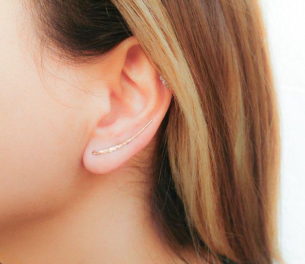 Stud Earrings – Rose Gold Ear Climber, Ear Crawler, Bar Earrings – a unique product by moonlidesigns on DaWanda