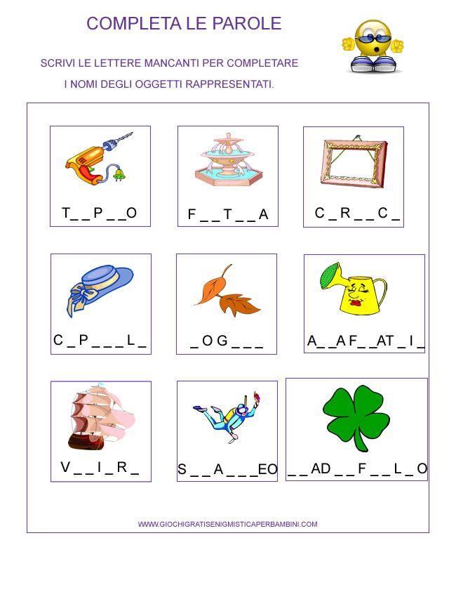 Scheda didattica per la prima elementare