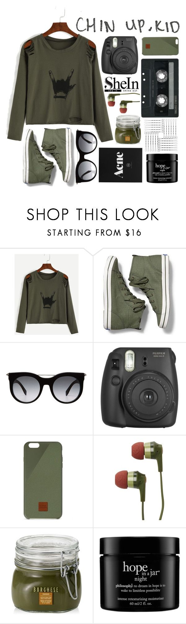 """""""Green Shein Gesture Print Shirt"""" by princessfo-eva ❤ liked on Polyvore featuring Keds, Alexander McQueen, Fujifilm, Native Union, CASSETTE, Skullcandy, Borghese and philosophy"""