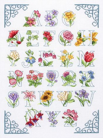 Floral Alphabet - Cross Stitch Kit Beautiful!!!  Flowers coordinate with letters