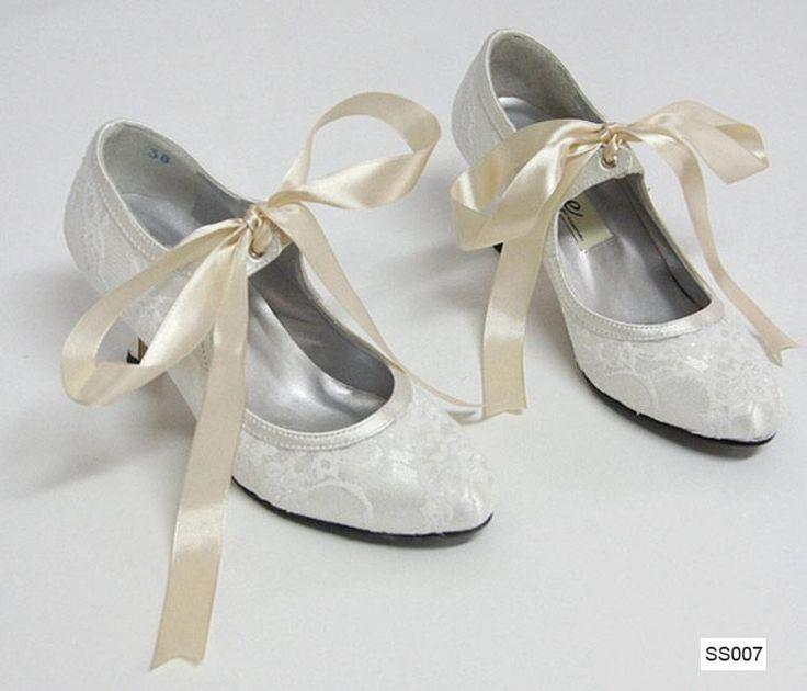mary janes stringata bianco wedding shoes In bianco avorio del merletto tacchi bassi di alta qualità pizzo 5CM stivali da