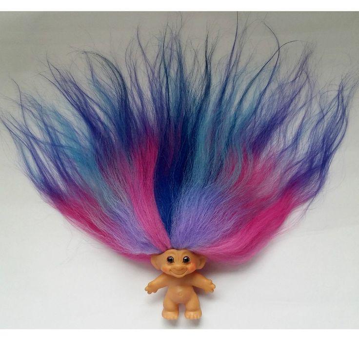 Vintage 1960's Thomas DAM Troll Doll Fuschia Turquoise Purple Blue Mohair & Eyes #Dam #Dolls