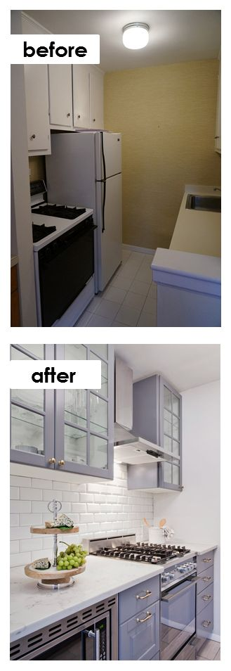 Glass Front Colored Cabinets From IKEA White Subway Tile And Better Use Of