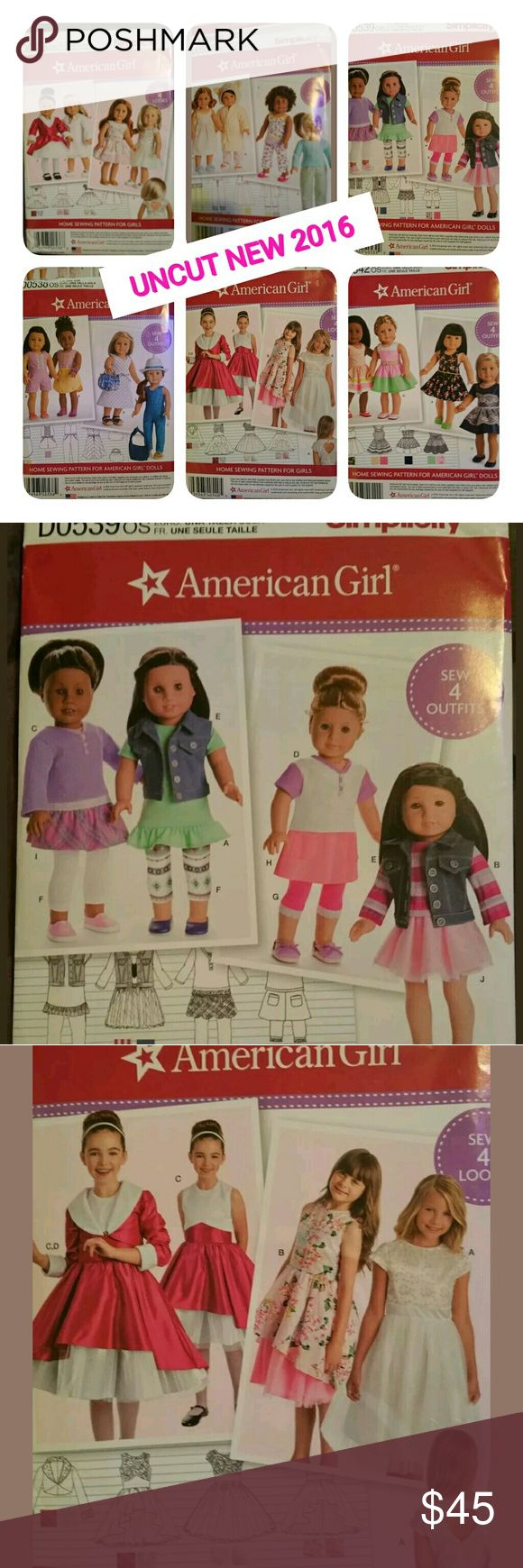 6 uncut American Girl Doll patterns Brand new, never used American Girl Doll patterns. Includes 5 doll patterns and 1 pattern for little girls look a like, she can match her dolls outfit. Each pattern retails for $22.95 each. simplicity  Other