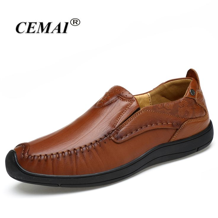 CEMAI Genuine Leather Men Loafers, Casual Shoes Men, Fashion flat Shoes men Driving shoes zapato hombres