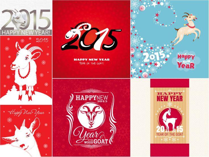 Happy NEW YEAR 2015 Year Goat vectors