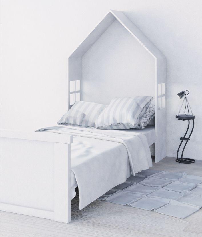 Bed designed by Miskiewicz Design. #bed #kidsroom #lozko #lozkodladzi ecka #lozkodomek #bialy #stylskandynawski #white