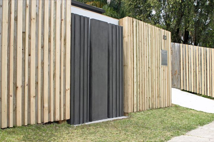 Timber fencing with Concrete feature panels by POPconcrete