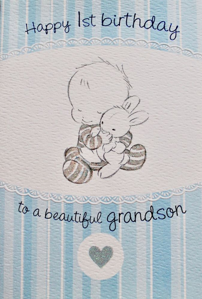 Happy 1st Birthday To A Beautiful Grandson Greeting Card Amp Envelope Baby New 1st Birthday