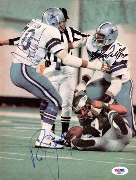 Ed Too Tall Jones, Ron Jaworski & Jihn Dutton Autographed Magazine Page Photo Cowboys PSA/DNA