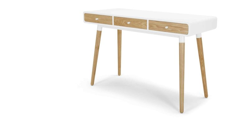 Edelweiss Desk, Ash and White | made.com