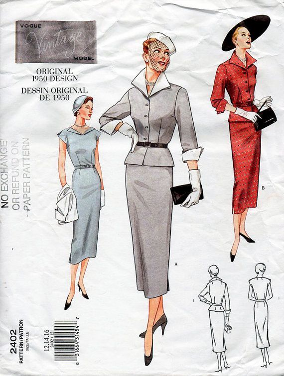 Vogue Vintage Model pattern 2402 for a jacket, dress and belt. Reprint of an original 1950 design, issued in 2001.  Loose-fitting, lined, above