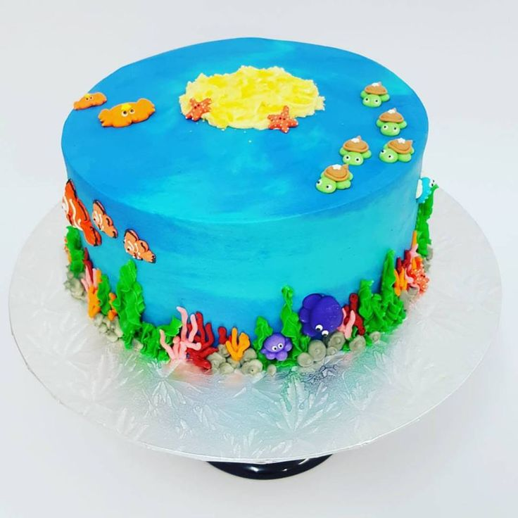 Ocean Themed Cake with Small Sea Creatures