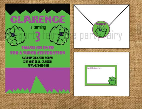 112 best Birthday party ideas images – Hulk Birthday Invitations
