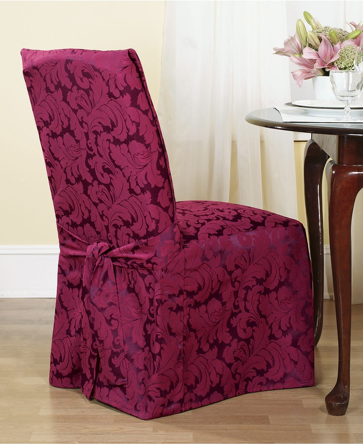 An effortless update and perfect furniture protector, the printed Scroll dining room chair cover from Sure Fit features a draped skirt with back ties for a sleek fit over any style furniture. | Cotton