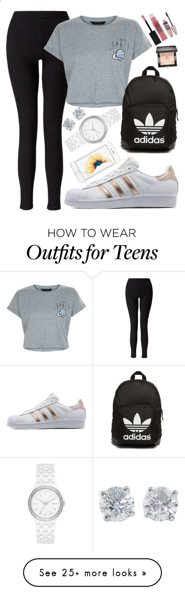 Back to School Outfits BACK TO SCHOOL OUTFITS #1 by beautybyee on Polyvore featuring Miss Selfridge, New Look, adidas Originals, Tiffany & Co., DKNY, Maybelline, Givenchy and statementnecklaces