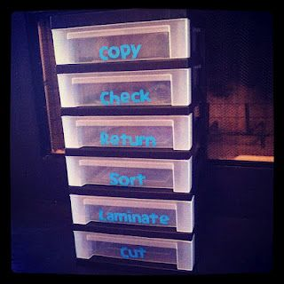 Crazy for First Grade: Silhouette Cameo :: Classroom Organization  This would be great for volunteers who want to help out in the art room!