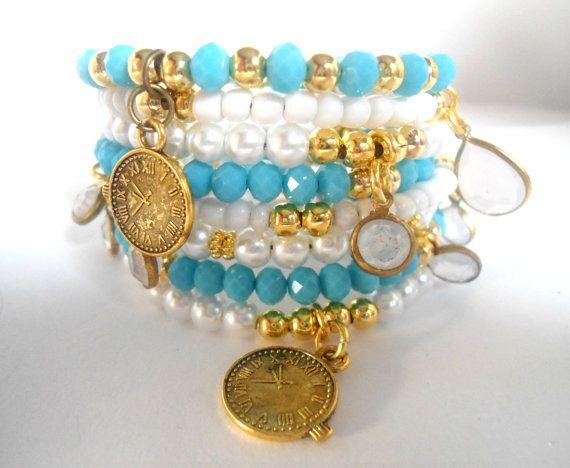 Charmed bracelet, Charm braclet, Bracelet for a cause, Mint blue white gold bracelet, Charm watch bracelet, Stacking bracelets gift set