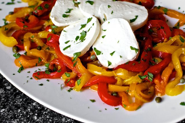 Roasted peppers with capers and mozzarella by smitten, via Flickr