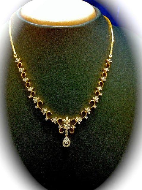 Simple Diamond Necklace - Jewellery Designs