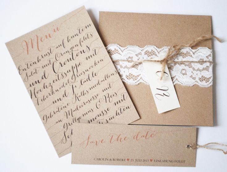 Pocket-Fold Einladung - Vintage/Kraftpapier III  Products, Hochzeit ...