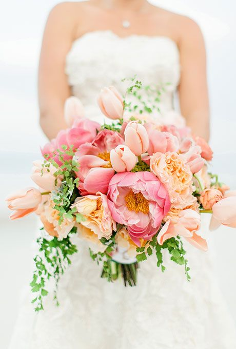Loose Pink and White Bouquet of Peonies, Roses, Astilbe, Greenery, and Dusty Miller | Wedding Flowers Photos | Brides.com