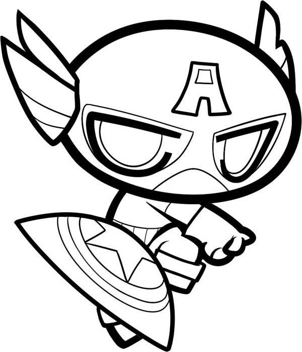 chibi captain america coloring page