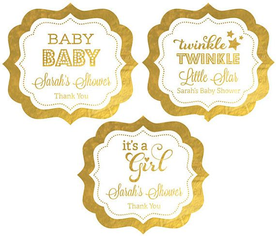 Pink and Gold Baby Shower Labels - Its a Girl Baby Shower Stickers - Girl Baby Shower Labels (EB3020FB) set of 24