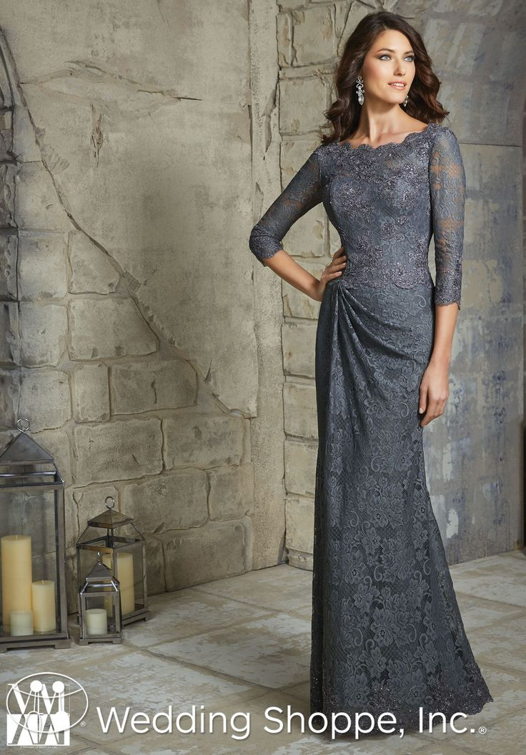 A stunning lace mother's dress with 3/4 length sleeves.