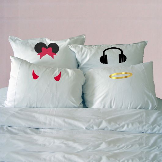Lense Filter Pillowcase.  Looking to add more fun to your bedroom or know someone that can't resist adding a funky filter to their photos? These lense filter pillowcases are to die for!    The perfect gift for someone who loves a good filter! Select from a wide range of filters: Crown, Graduation Cap, Devil Horns, Angel Halo, Minnie Ears, Headphones, Pirates Hat and Dream Bubble.