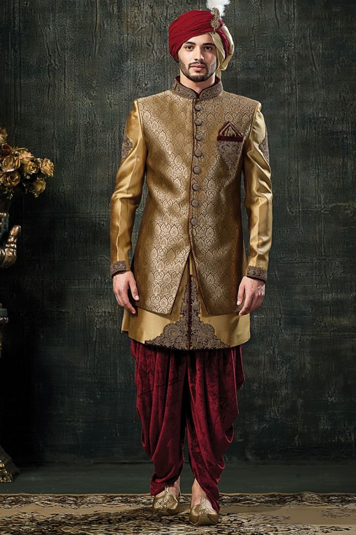 ae1071914d Wedding Panjabi Sherwani In Golden And Red Colour | Men's Fashion in ...