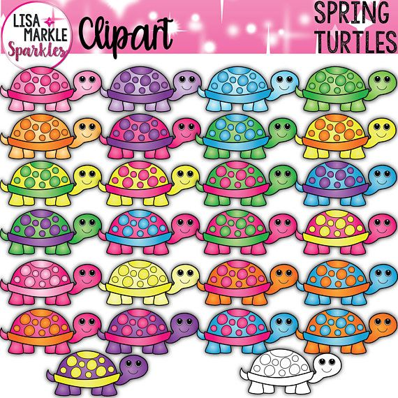 Turtle Clipart Spring Clipart Baby Turtle Clipart Rainbow Turtle