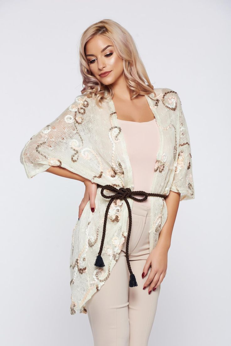 PrettyGirl cream casual knitted embroidered cardigan raised flowers, women`s sweater, raised flowers, is fastened around the waist with a ribbon, knitted fabric