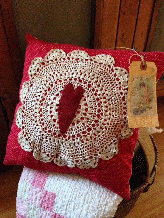 Primitive Valentine's Day Pillow Tuck Prim Decor Red by MrsVsPrims