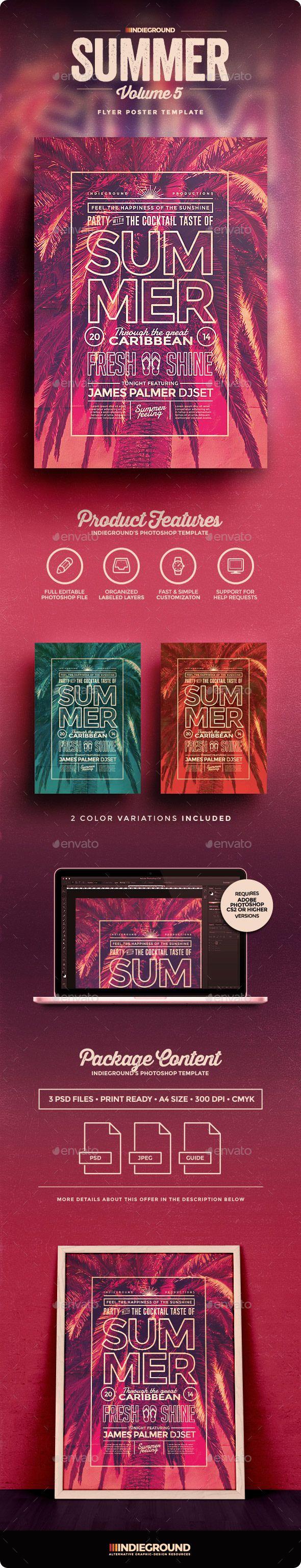 Summer Flyer/Poster Template #design Download: graphicriver.net/...