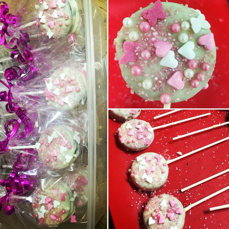 Oreo princess pops! Twist it, add a cake pop stick ( with a drop of melted choc) stick together and coat in White choc ( you could colour it) sprinkle with some sparkly toppings and refrigerate done!