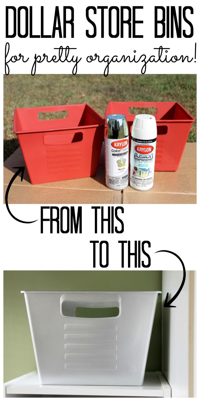 Makeover dollar store bins for pretty organization with just a little spray paint! See how here!