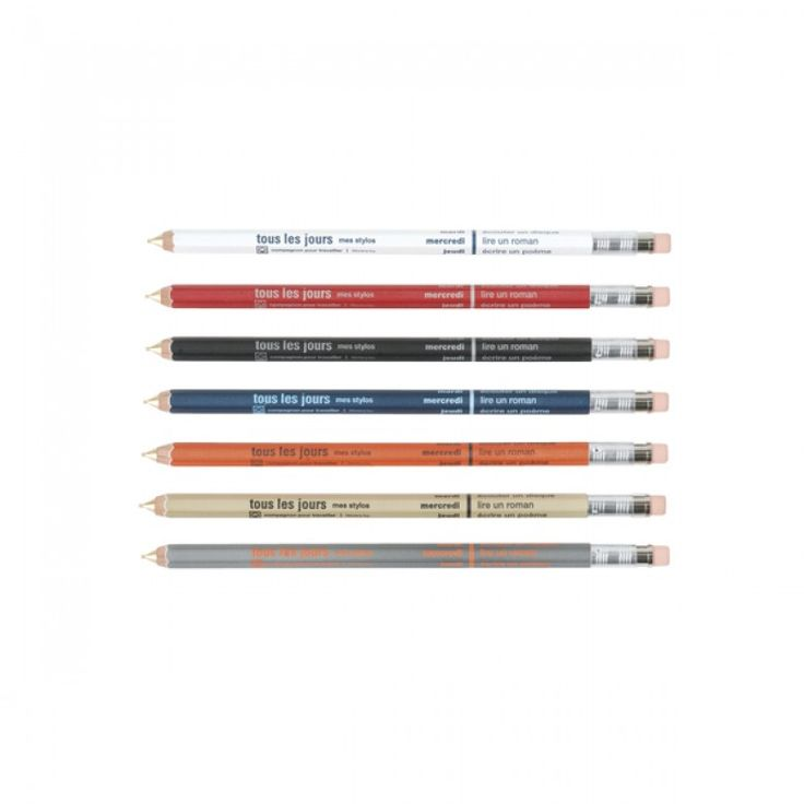 Colourful range of Japanese mechanical pencils with the days of the week and an activity per day written in French on it.